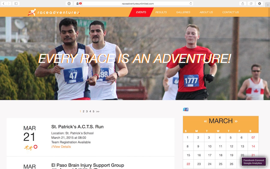 Race Adventures Website Screenshot